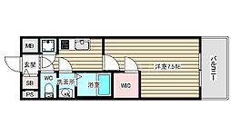 ファーストフィオーレ福島野田2 8階1Kの間取り