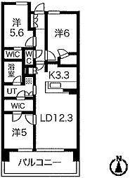 ザ・青葉通レジデンス 12階3LDKの間取り