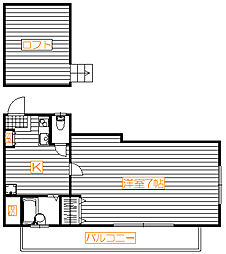 フラット瑠璃[2階号室]の間取り