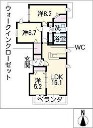 トレス覚王山[2階]の間取り