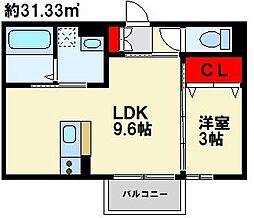Polonia MatsubaraA棟 2階1LDKの間取り