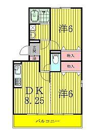 千葉県柏市大島田の賃貸アパートの間取り