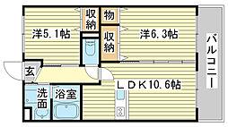 兵庫県神崎郡福崎町西田原の賃貸マンションの間取り