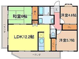静岡県富士宮市東町の賃貸マンションの間取り