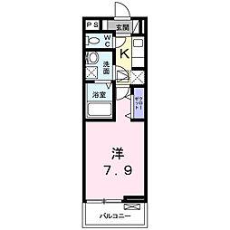JR横浜線 長津田駅 徒歩7分の賃貸アパート 1階1Kの間取り