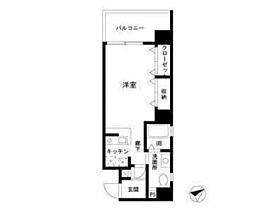 東急東横線 中目黒駅 徒歩2分の賃貸マンション 7階1Kの間取り