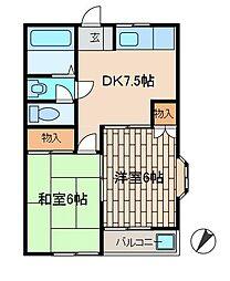 プライムハイツA[2階]の間取り