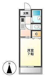 愛知県名古屋市昭和区南分町5丁目の賃貸アパートの間取り