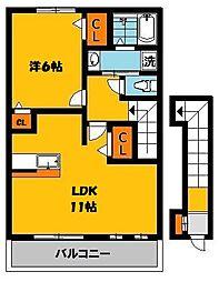 カーサソラーレB[2階]の間取り