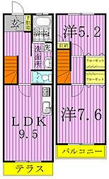 [テラスハウス] 千葉県流山市大字南 の賃貸【/】の間取り
