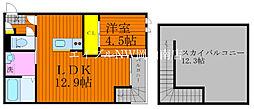 JR宇野線 備前西市駅 徒歩32分の賃貸アパート 2階1LDKの間取り
