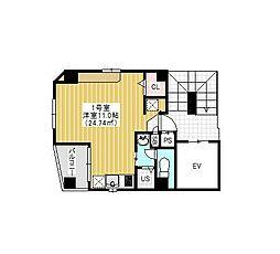 東京メトロ銀座線 田原町駅 徒歩1分の賃貸マンション 2階ワンルームの間取り