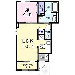 カーサミルト[1階]の間取り