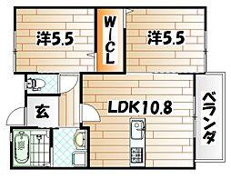 福岡県遠賀郡水巻町下二東3丁目の賃貸アパートの間取り