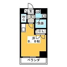 レジデンシア大須 9階ワンルームの間取り