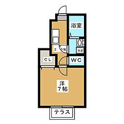 ラフィネ東小金井 1階1Kの間取り