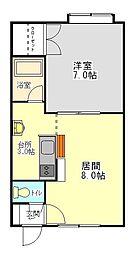 ロイヤルハウス豊岡[202号室]の間取り