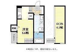 ハーモニーテラス箱崎宮前西 2階1Kの間取り