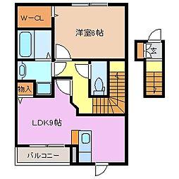 三重県鈴鹿市白子2丁目の賃貸アパートの間取り