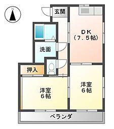 恵ハイツ南2[2階]の間取り
