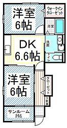 長野県長野市大字安茂里の賃貸アパートの間取り