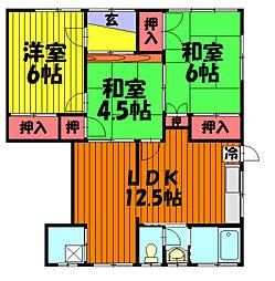 埼玉県草加市花栗1丁目の賃貸アパートの間取り