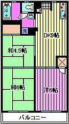 金子パ−クハイツ[2階]の間取り
