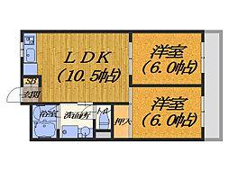 大阪府堺市北区東浅香山町2丁の賃貸アパートの間取り