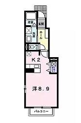 アダージョ美野島B[1階]の間取り