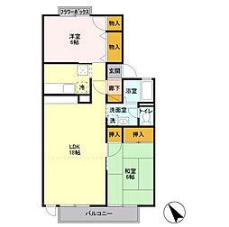 コーポリンクルB棟[1階]の間取り