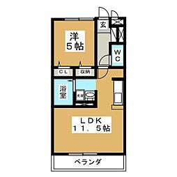カナディアンコート南吉成B[2階]の間取り