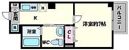 ラ・ヴィラ阿倍野 4階1Kの間取り