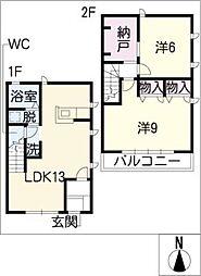 [タウンハウス] 愛知県名古屋市緑区姥子山4丁目 の賃貸【愛知県 / 名古屋市緑区】の間取り