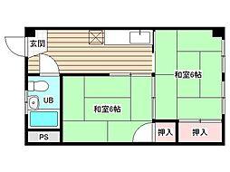 久保田ハイツ北棟[3階]の間取り