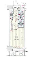Osaka Metro中央線 堺筋本町駅 徒歩5分の賃貸マンション 13階1Kの間取り