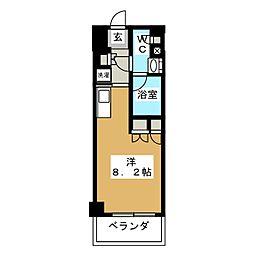 パークアクシス横濱大通り公園 8階ワンルームの間取り