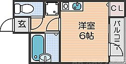 南海線 新今宮駅 徒歩3分の賃貸マンション 6階ワンルームの間取り