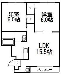 北海道札幌市西区発寒十条11の賃貸マンションの間取り