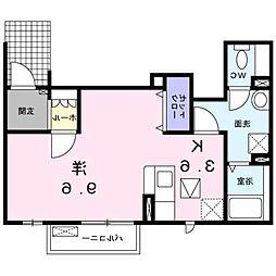 西鉄天神大牟田線 矢加部駅 徒歩30分の賃貸アパート 1階1Kの間取り