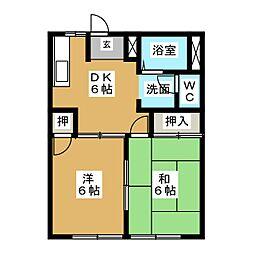 ハイツシャインA棟[2階]の間取り