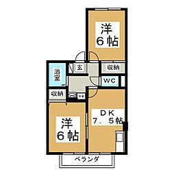 ディアコート加茂A[2階]の間取り