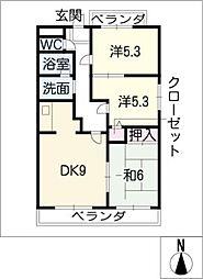 ラフォーレKATADA[3階]の間取り