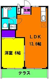 静岡県浜松市浜北区中条の賃貸アパートの間取り