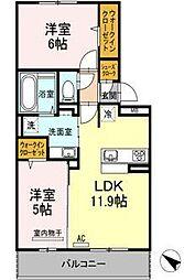 D-roomパークサイド吉塚[2階]の間取り