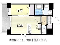 西鉄天神大牟田線 高宮駅 徒歩18分の賃貸マンション 9階1LDKの間取り