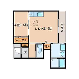 近鉄奈良線 東生駒駅 徒歩10分の賃貸マンション 1階1LDKの間取り