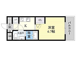 アドバンス新大阪ラシュレ 7階1Kの間取り