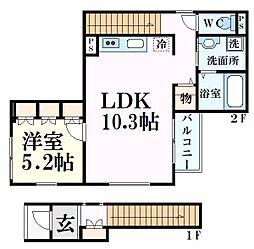 阪急神戸本線 西宮北口駅 徒歩12分の賃貸アパート 2階1LDKの間取り