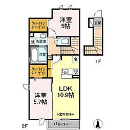 仮)D-room芋窪 A[2階]の間取り