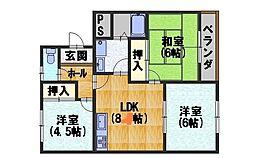 カーサIKUSHIMA[205号室]の間取り